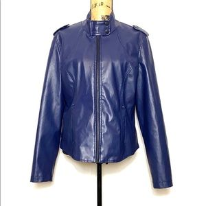 Therapy Blue Faux Leather Zip-Up Jacket L